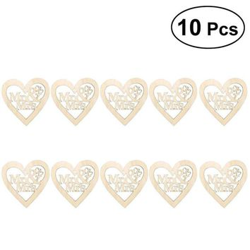 10pcs Heart Shaped Mr and Mrs Wooden Hanging Ornament Decoration Pendants with String