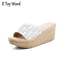Women Mules Clog Shoes Leather Slip on Peep Toe Ladies Cork Wedge Sandals Female Platform Sandals Shoes Flats 2017 Summer