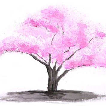 Watercolor Print pink flower pink cherry blossom tree watercolor paintin floral art wall decor home  flower watercolor art digital printable