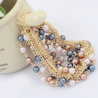 Multi Color Pearl and Chain Cluster Bracelet