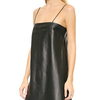 Spaghetti Strap Leather Mini Dress