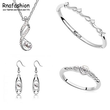 Wholesale Jewelry Sets Pendants Necklaces Dangle Earring Ring & Bracelet/Bangle Silver Plated Chain Fashion Stlye For women