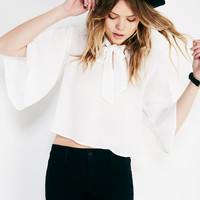 Flutter Sleeve Blouse With Tie Neck   Wet Seal