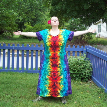 Tie Dye Dress - XL, 2XL, 3XL - Plus Size- Dark Rainbow Crush Tie Dye