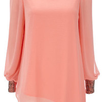 Coral Embellished Sleeve Top - Going Out Tops - Tops & Blouses - Clothing - Wallis US