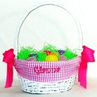 Monogrammed Fabric Lined White Willow Basket Embellished With Bows