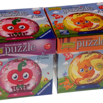"Set 2 Moshi Monsters Ravensburger 3D Puzzle Luvli Katsuma 54 Pc 2.7"" Round NEW"