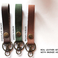 Leather Key Fob. chocolate brown/green nubuck/brown nubuck Leather keychain with bronze color hook and ring, cute keychains, leather lanyard