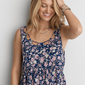 AEO Tiered Babydoll Dress , Navy