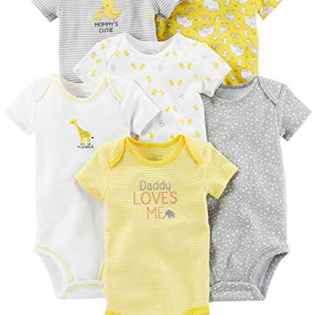Simple Joys by Carter's Baby 6-Pack Embellished Short-Sleeve Bodysuit