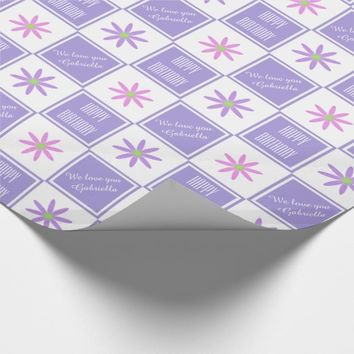 Pretty Personalized Daisy Checked Wrapping Paper