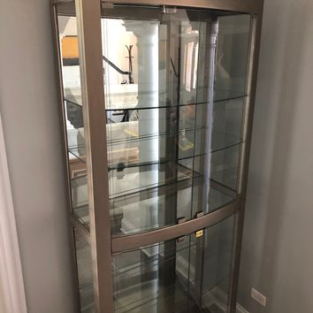 Silver and Glass 5 Shelf Lighted Curio Display Cabinet