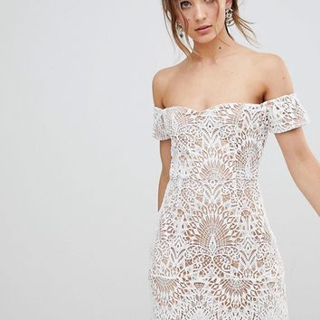 Boohoo Lace Overlay Bardot Dress at asos.com