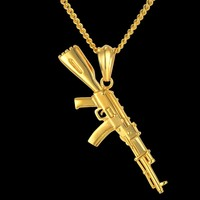 European Male Gun Pendant Necklace 4 Size Hip Hop Chain Men Women Jewelry Black Gold Color Stainless Steel bijoux AK47 Necklace