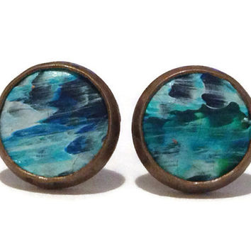 Blue ocean ombre Leather Stud Earrings, Leather Earrings, Earstuds, Ear Stud Earring