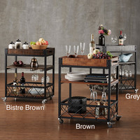TRIBECCA HOME Myra Rustic Mobile Kitchen Bar Serving Wine Cart | Overstock.com Shopping - The Best Deals on Kitchen Carts