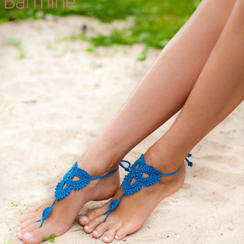 Crochet Blue Barefoot Sandals, Nude shoes, Foot jewelry, Beach Wedding bridal accessory, Victorian Lace, Yoga Anklet, Bellydance, Beach Poo
