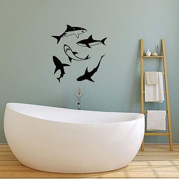 Vinyl Wall Decal Sharks Bathroom Decorating Idea Interior Decor Stickers Mural (ig5895)