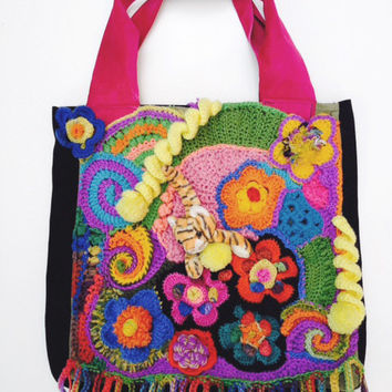 Scrumbles shopping bag, crochet and suede/leather
