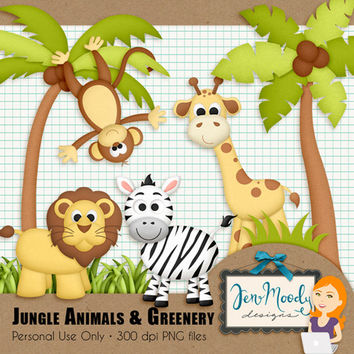 Instant Download: Jungle Safari Clipart Element Pack, 3D / Beveled and Textured - Printable, Great For Scrapbooking, Personal Use Only