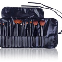 SHANY Professional 12 - Piece Natural Goat and Badger Cosmetic Brush Set with Pouch - Black