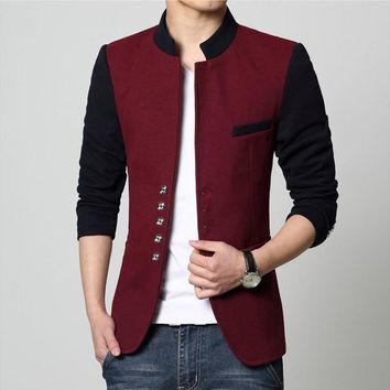 Men casual slim fit patchwork brand blazer suit jacket red coat Male clothing blaser masculine hot sale wholesale