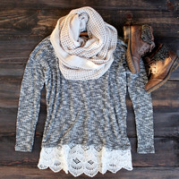 all lace on me sweater tunic , grey