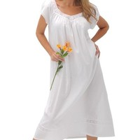 Del Rossa Women's Adele 100% Cotton Long Victorian Nightgown, Small White (A0528WHTSM)