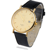 Man Fashion Vogue Quartz Watch Watch with Golden Dial Date Indicator for Men = 1956606212