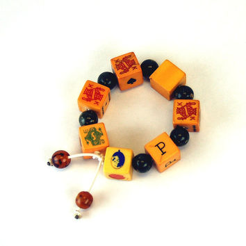 CLEARANCE Bakelite poker dice bracelet upcycled 50s bakelite dice gambling theme novelty gaming jewelry