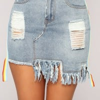Remi Distressed Skirt - Denim