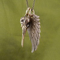 "Angel Wing and Bird Skull Necklace Bronze Hummingbird and Wing Pendant on 24"" Antique Bronze Chain"