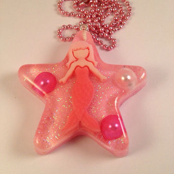 Pink Mermaid Star Necklace Under The Sea Pendant With Pearls cute kawaii mermaid little mermaid