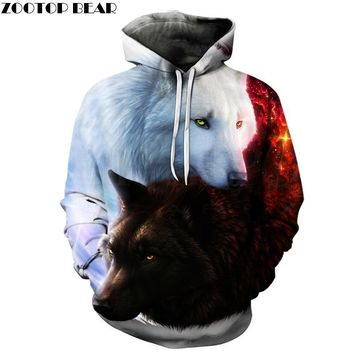 Wolf Printed Hoodies Men 3d Hoodies Jackets Quality Pullover Fashion Tracksuits Animal Streetwear