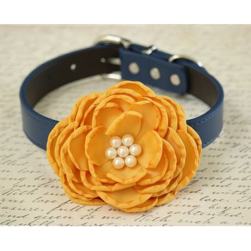 Yellow Flower dog collar, Pet wedding accessory, floral yellow wedding pet collar