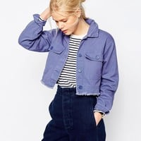ASOS Shacket in Cropped Length in Distressed Wash