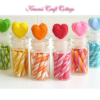 Candy, Canes, Lollipop, Love, Glass, Bottle, Candy cane, Fake, Doll, Food, Kawaii, Cute, Mini, Blythe, Little, Dal, 1 6, 1:12, Gift, Sweets