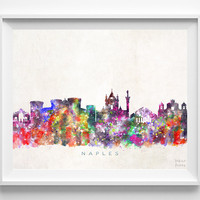 Naples Skyline, Italy Print, Naples Wall Art, Italy Poster, Watercolor Art, Cityscape, Italian Wall Art, Home Decor, Christmas Gift