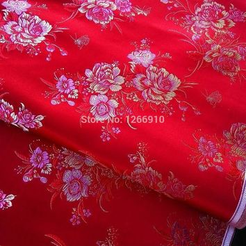 DCCKJG2 chinese silk brocade  fabric cheongsam cushion red back gold pink Peony flower examine Tapestry satin