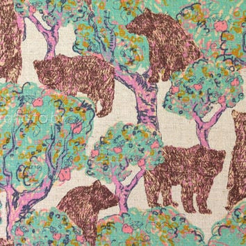 Japanese Fabric - Bears - mint green and pink