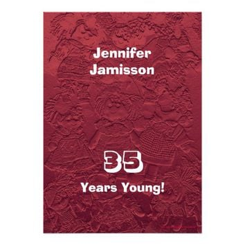 35th Birthday Party Red Dolls Custom Invitations
