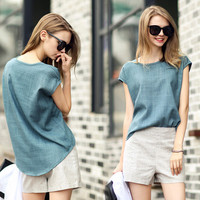 Denim Short-Sleeved Blouse