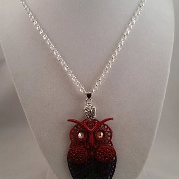 red purple green owl pendant necklace-owl pendant necklace- swarovski crystal owl necklace-owl necklace-owl jewelry-owl pendant with crystal