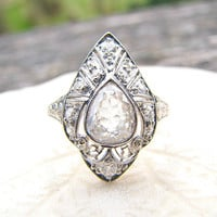 Antique Diamond Ring, Rare Old Pear Rose Cut Diamond with Old European Cuts, Intricate Filigree, Engraving, GIA Appraisal 3800, Edwardian