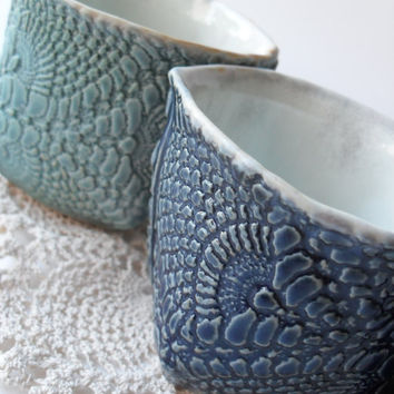 $50.00 Set of 2 Shortie Lace Mugs in Cobalt Blue and by WindfallArts