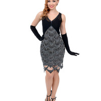 Preorder -  Iconic by UV Exclusive 1920s Style Black & Blue Fishscale Beaded Follies Flapper Dress
