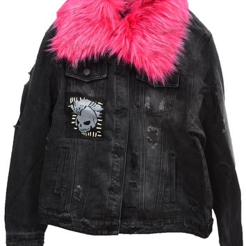 Plus Size Womens Destroyed Skull Patch Denim Jacket with Removable Fur