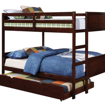 Annette collection walnut finish wood full over full paneled headboards bunk bed set
