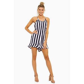 Selena Tunnel Strap Halter Neck Romper - Navy Stripe