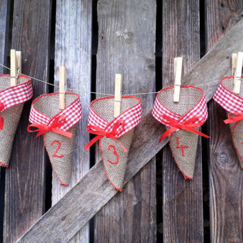 Advent Calendar, Burlap Advent Calendar, Advent Decoration, Rustic Home, Advent Cones, Christmas Decoration, Burlap Cones For Christmas